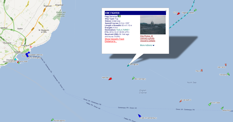 Eide Fighter passing Dover. Copyright Marinetraffic.com