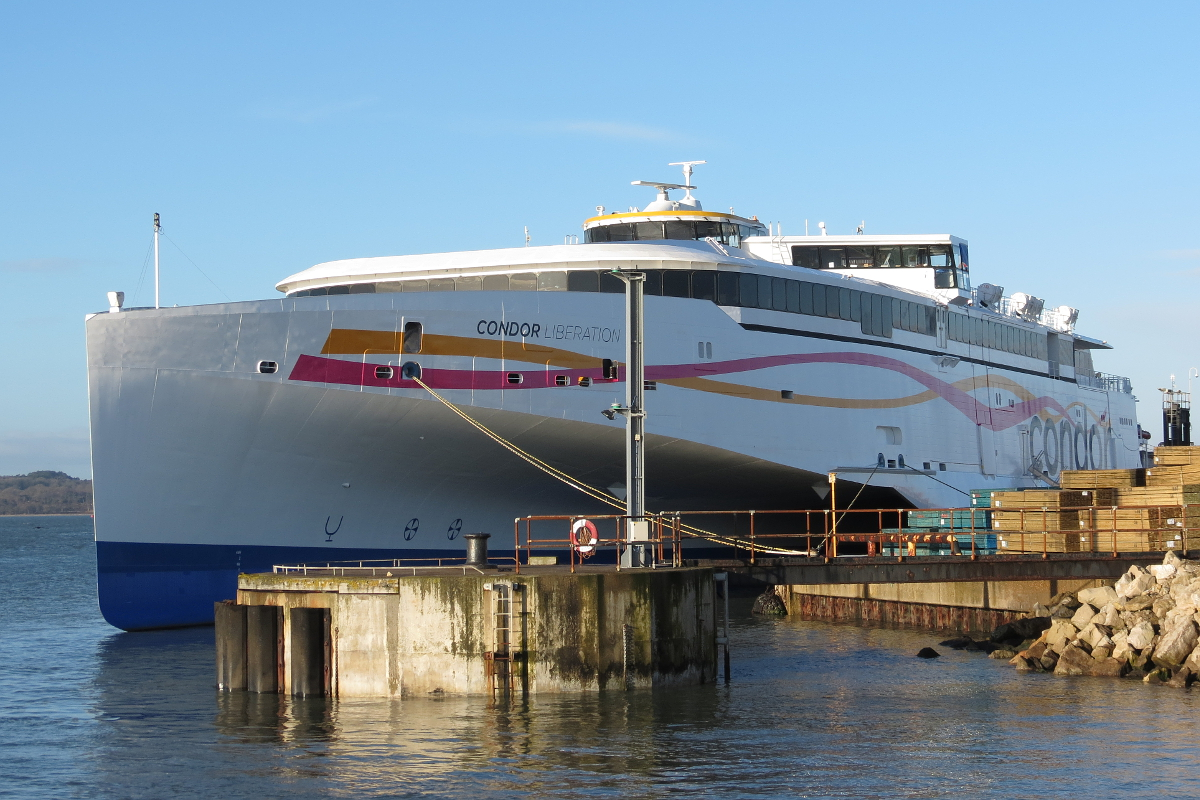The Condor Liberation shows off her completed livery alongside in Poole on the 21/02/15 © Kevin Mitchell