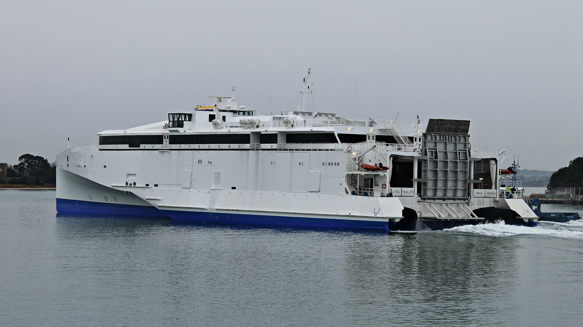Austal Hull 270 arrives in Poole for the first time on the 26/12/14 © Dan Hall