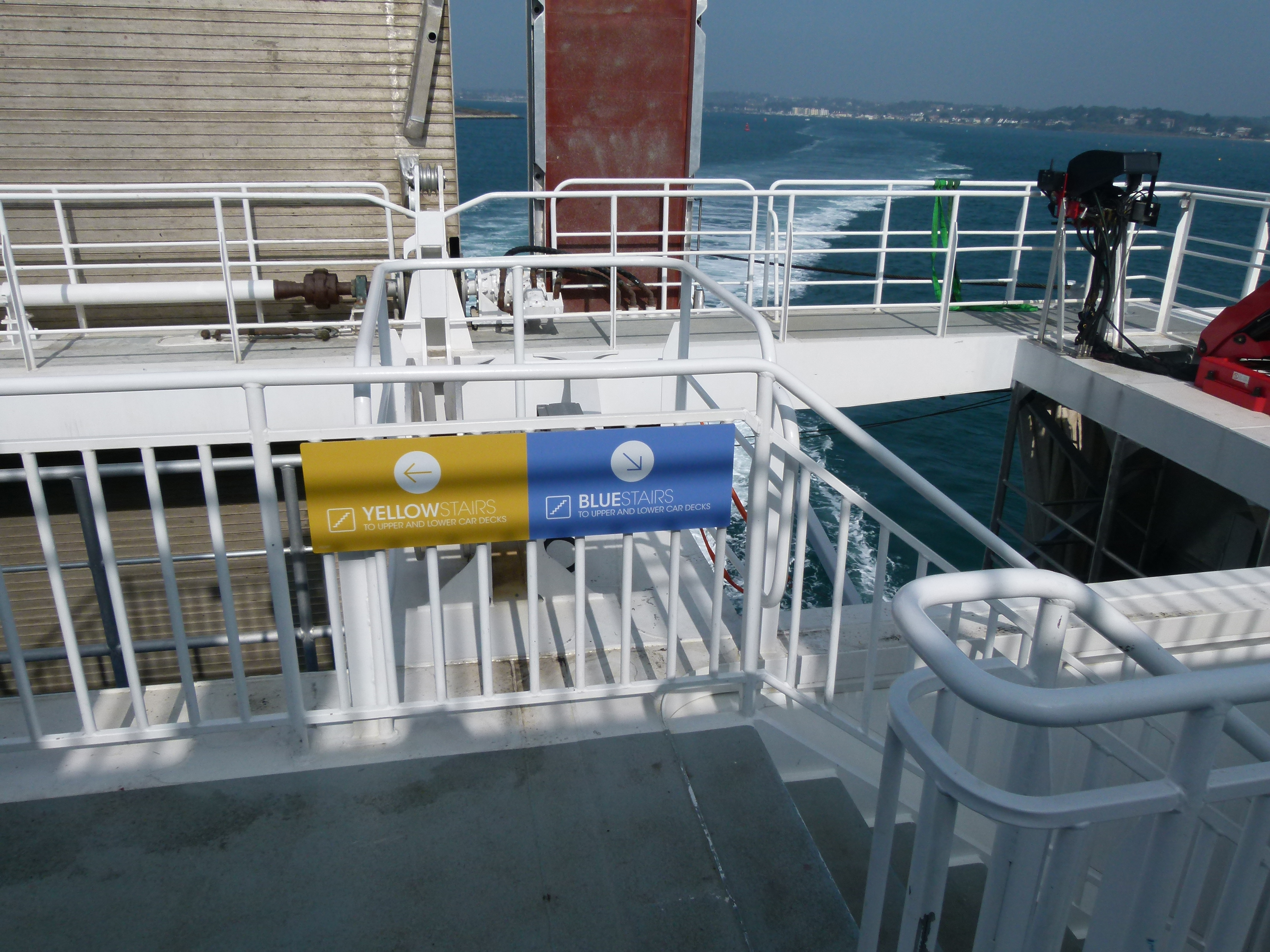 Lower Outside Deck - Blue Stairs to the car deck
