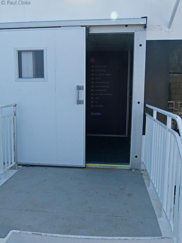 Lower Outside Deck - Sliding door leading to the passenger accommodation